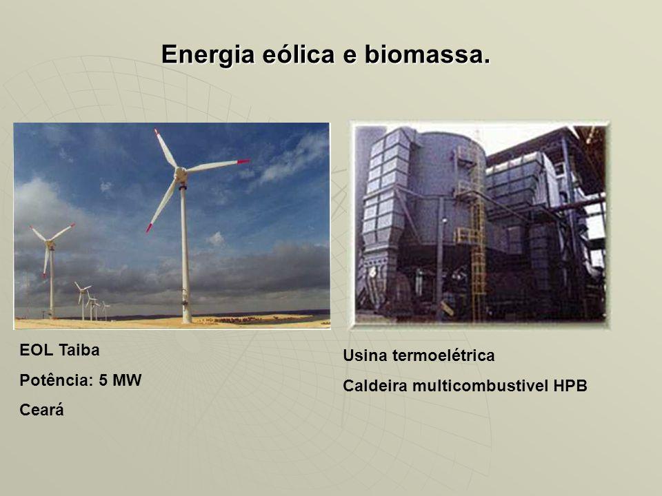 Energia eólica e biomassa. EOL Taiba Potência: 5 MW Ceará Usina termoelétrica Caldeira multicombustivel HPB