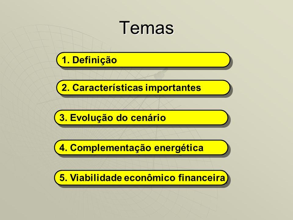 Temas 1. Definição 2. Características importantes 3. Evolução do cenário 4. Complementação energética 5. Viabilidade econômico financeira