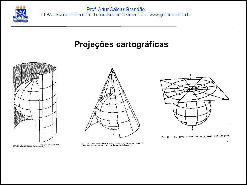Projeções cartográficas Prof. Artur Caldas Brandão UFBA – Escola Politécnica – Laboratório de Geomensura – www.geodesia.ufba.br
