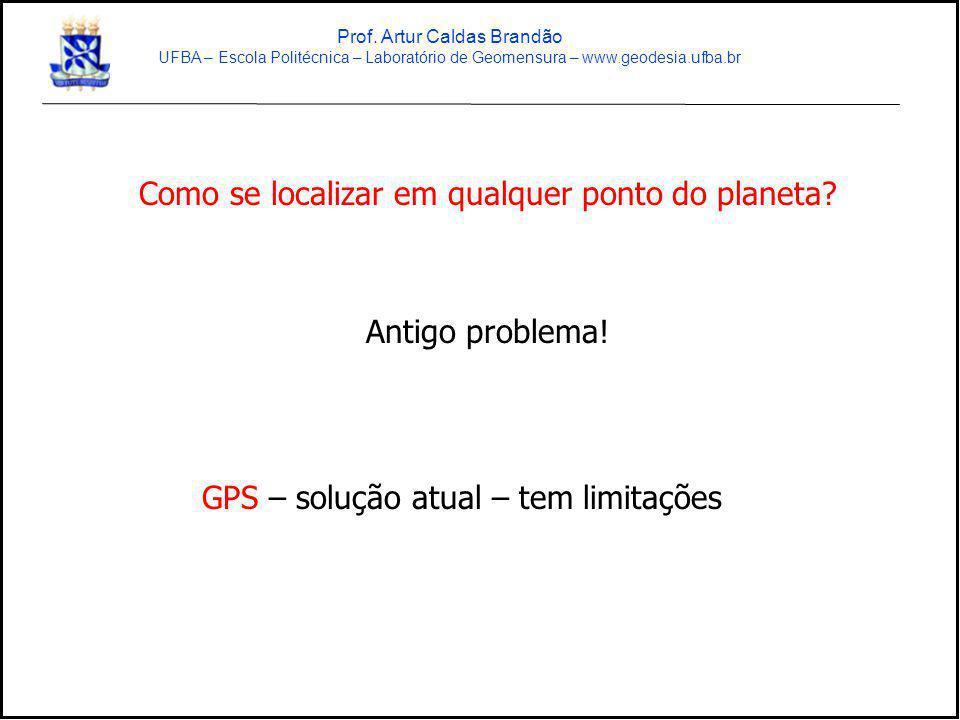Como se localizar em qualquer ponto do planeta? Antigo problema! GPS – solução atual – tem limitações Prof. Artur Caldas Brandão UFBA – Escola Politéc