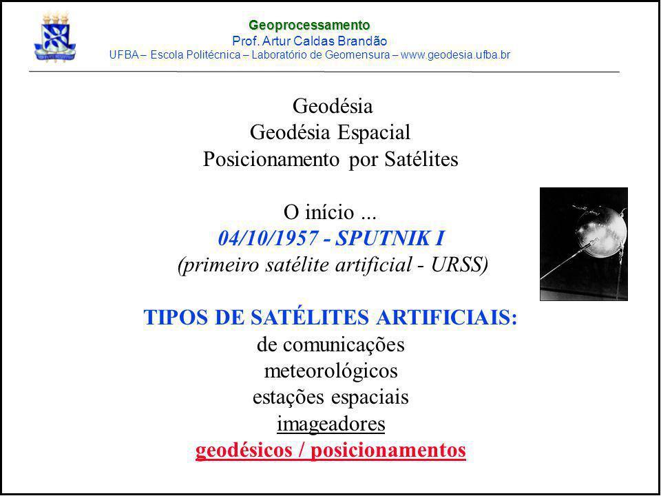 Geodésia Geodésia Espacial Posicionamento por Satélites O início... 04/10/1957 - SPUTNIK I (primeiro satélite artificial - URSS) TIPOS DE SATÉLITES AR