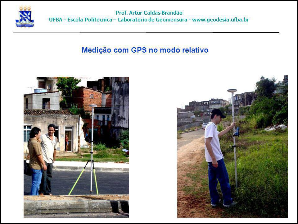 Medição com GPS no modo relativo Prof. Artur Caldas Brandão UFBA - Escola Politécnica – Laboratório de Geomensura - www.geodesia.ufba.br