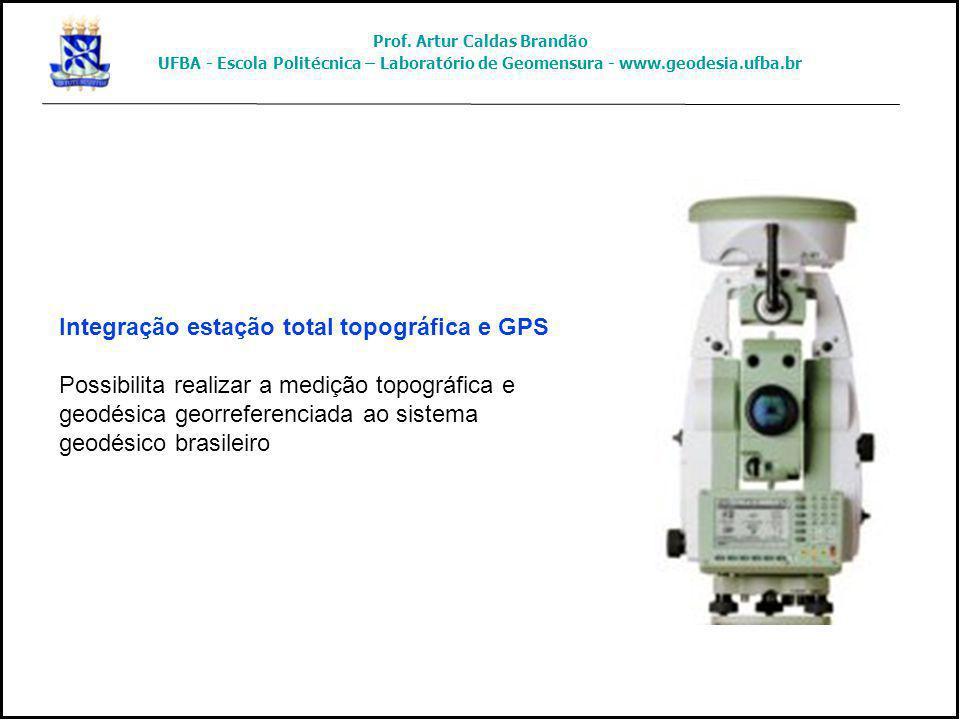 Integração estação total topográfica e GPS Possibilita realizar a medição topográfica e geodésica georreferenciada ao sistema geodésico brasileiro Pro