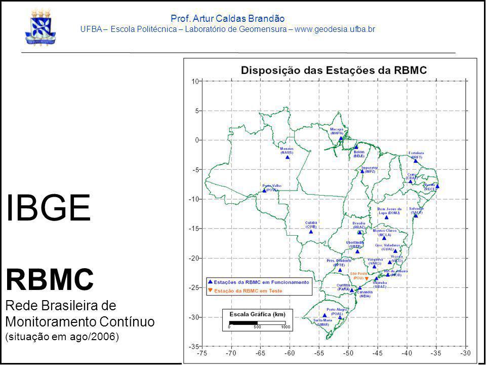 IBGE RBMC Rede Brasileira de Monitoramento Contínuo (situação em ago/2006) Prof. Artur Caldas Brandão UFBA – Escola Politécnica – Laboratório de Geome