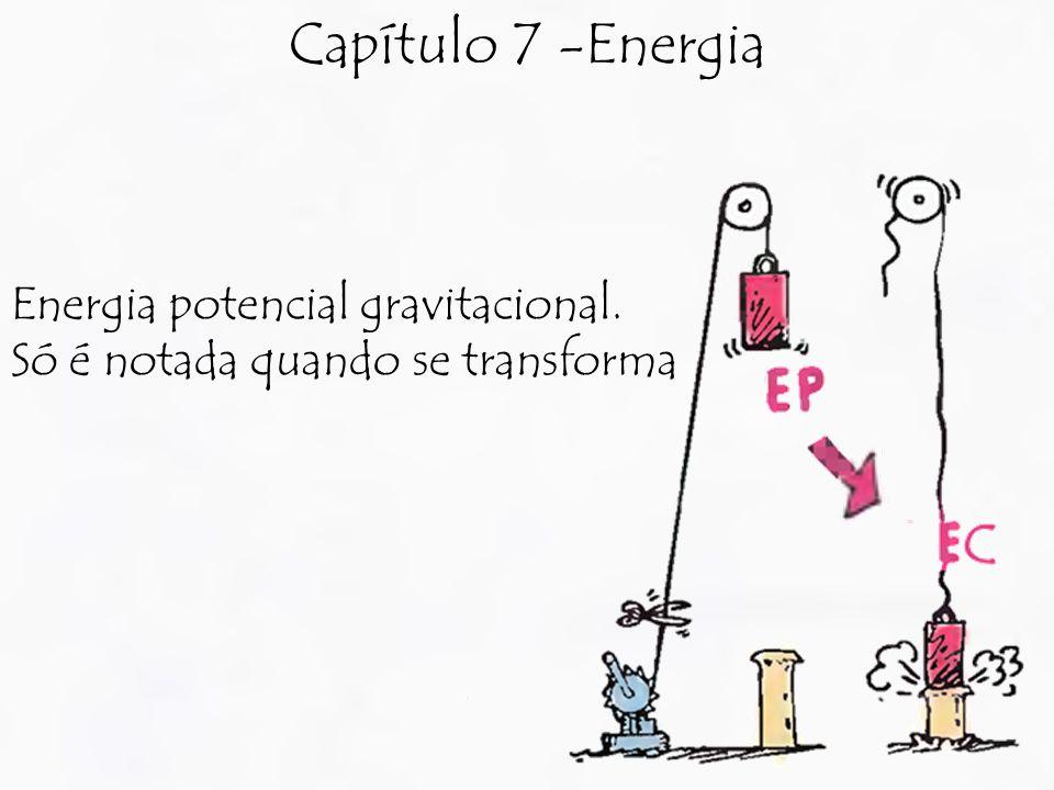 Capítulo 7 -Energia Energia potencial gravitacional. Só é notada quando se transforma