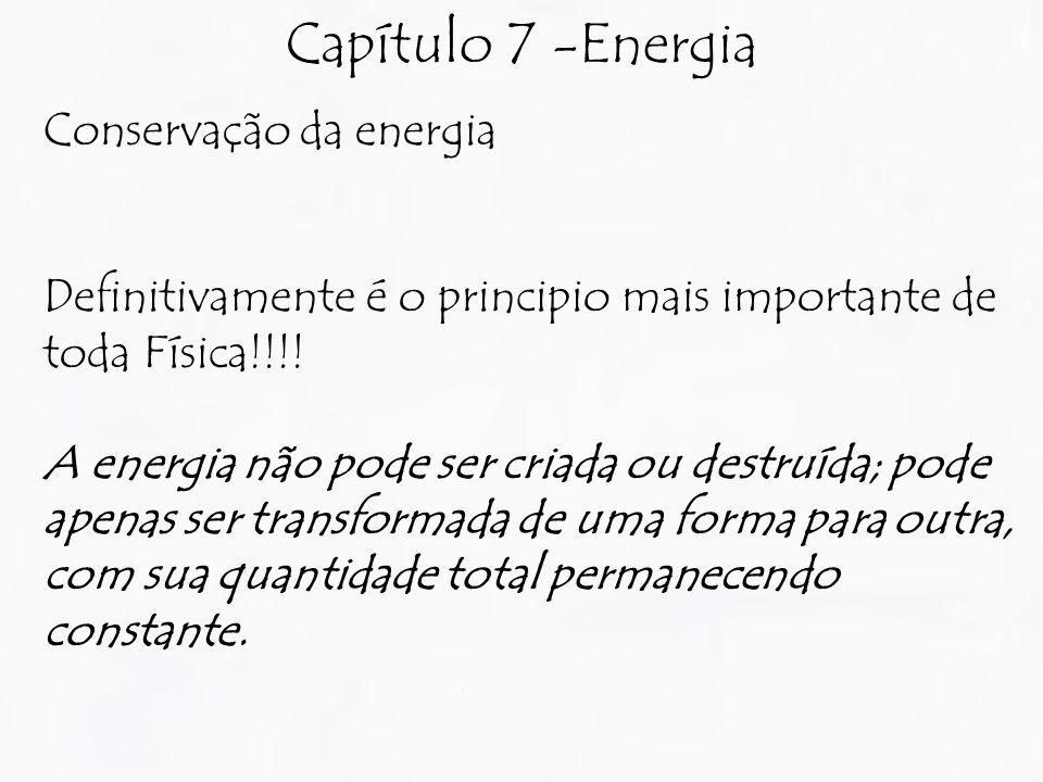 Capítulo 7 -Energia Conservação da energia Definitivamente é o principio mais importante de toda Física!!!.