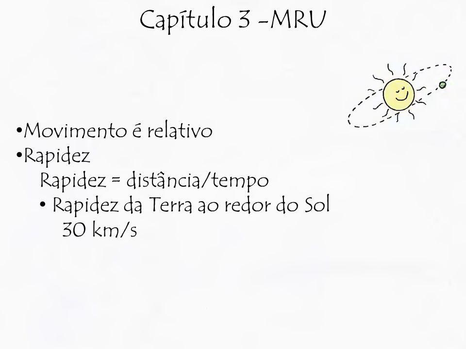 Capítulo 3 -MRU Movimento é relativo Rapidez Rapidez = distância/tempo Rapidez da Terra ao redor do Sol 30 km/s