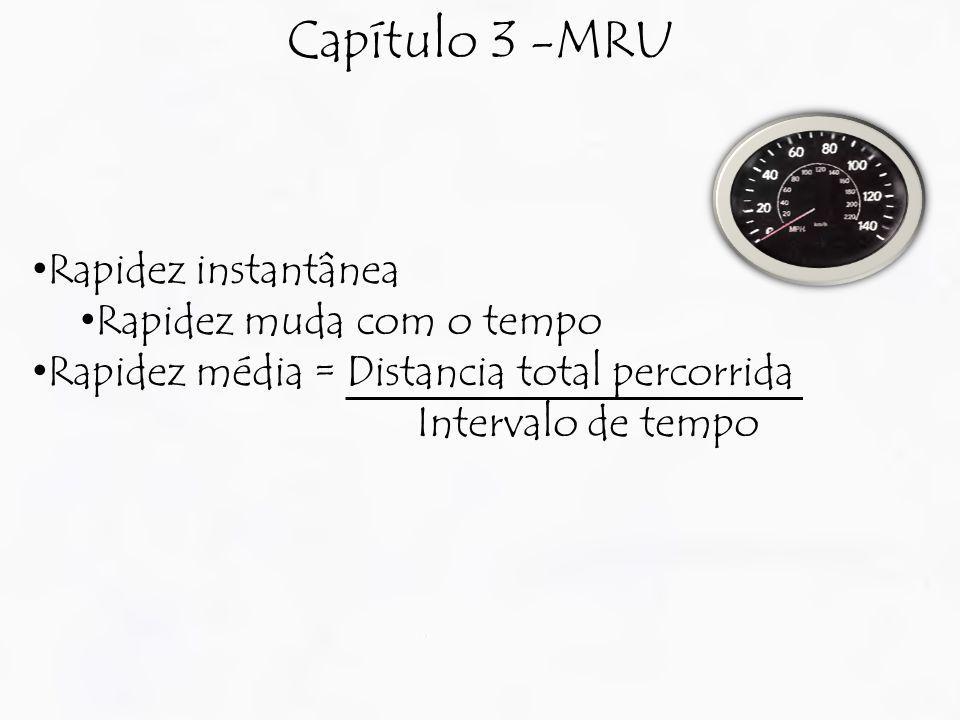 Capítulo 3 -MRU Rapidez instantânea Rapidez muda com o tempo Rapidez média = Distancia total percorrida Intervalo de tempo
