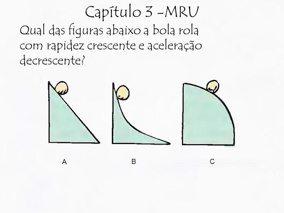 Capítulo 3 -MRU Qual das figuras abaixo a bola rola com rapidez crescente e aceleração decrescente? A BC
