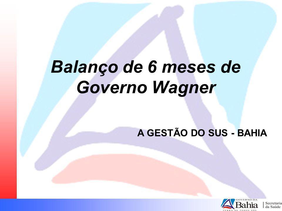 Balanço de 6 meses de Governo Wagner A GESTÃO DO SUS - BAHIA