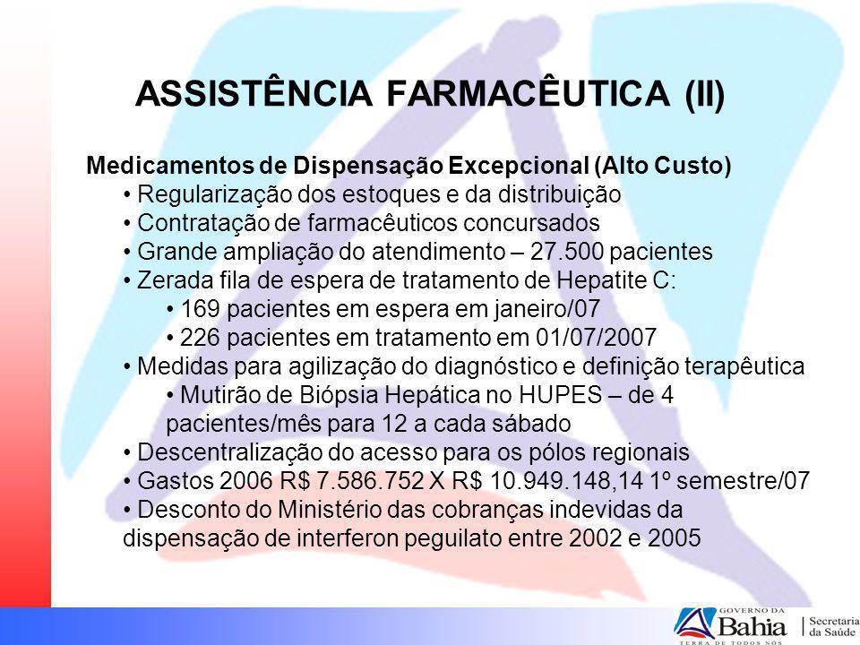 ASSISTÊNCIA FARMACÊUTICA (II) Medicamentos de Dispensação Excepcional (Alto Custo) Regularização dos estoques e da distribuição Contratação de farmacê