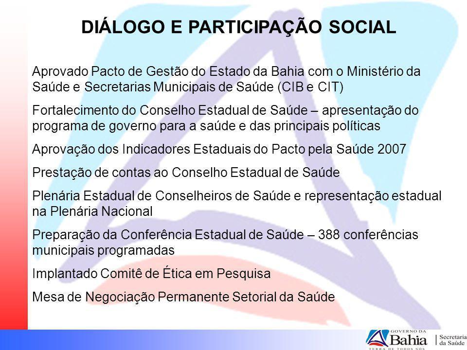 DIÁLOGO E PARTICIPAÇÃO SOCIAL Aprovado Pacto de Gestão do Estado da Bahia com o Ministério da Saúde e Secretarias Municipais de Saúde (CIB e CIT) Fort