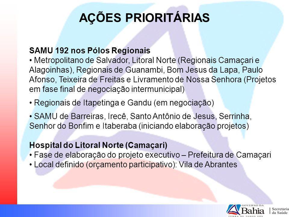 AÇÕES PRIORITÁRIAS SAMU 192 nos Pólos Regionais Metropolitano de Salvador, Litoral Norte (Regionais Camaçari e Alagoinhas), Regionais de Guanambi, Bom