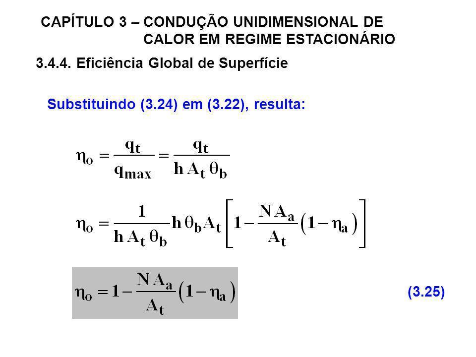CAPÍTULO 3 – CONDUÇÃO UNIDIMENSIONAL DE CALOR EM REGIME ESTACIONÁRIO 3.4.4. Eficiência Global de Superfície Substituindo (3.24) em (3.22), resulta: (3