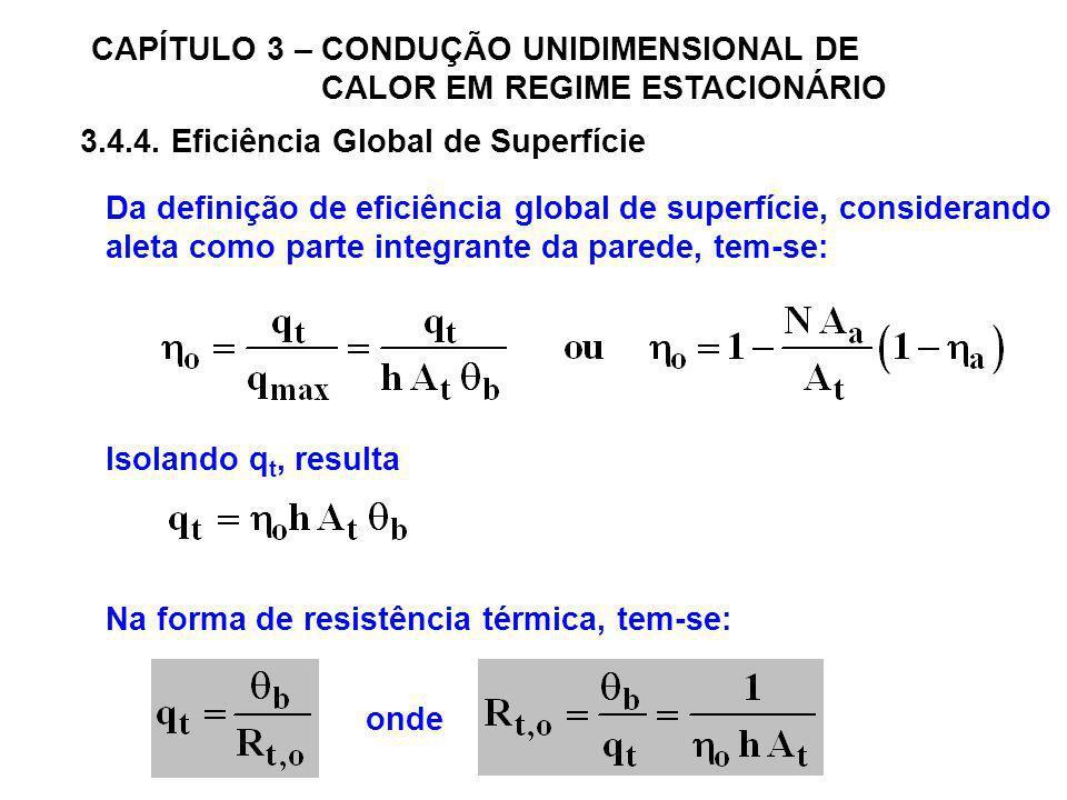CAPÍTULO 3 – CONDUÇÃO UNIDIMENSIONAL DE CALOR EM REGIME ESTACIONÁRIO 3.4.4. Eficiência Global de Superfície Da definição de eficiência global de super