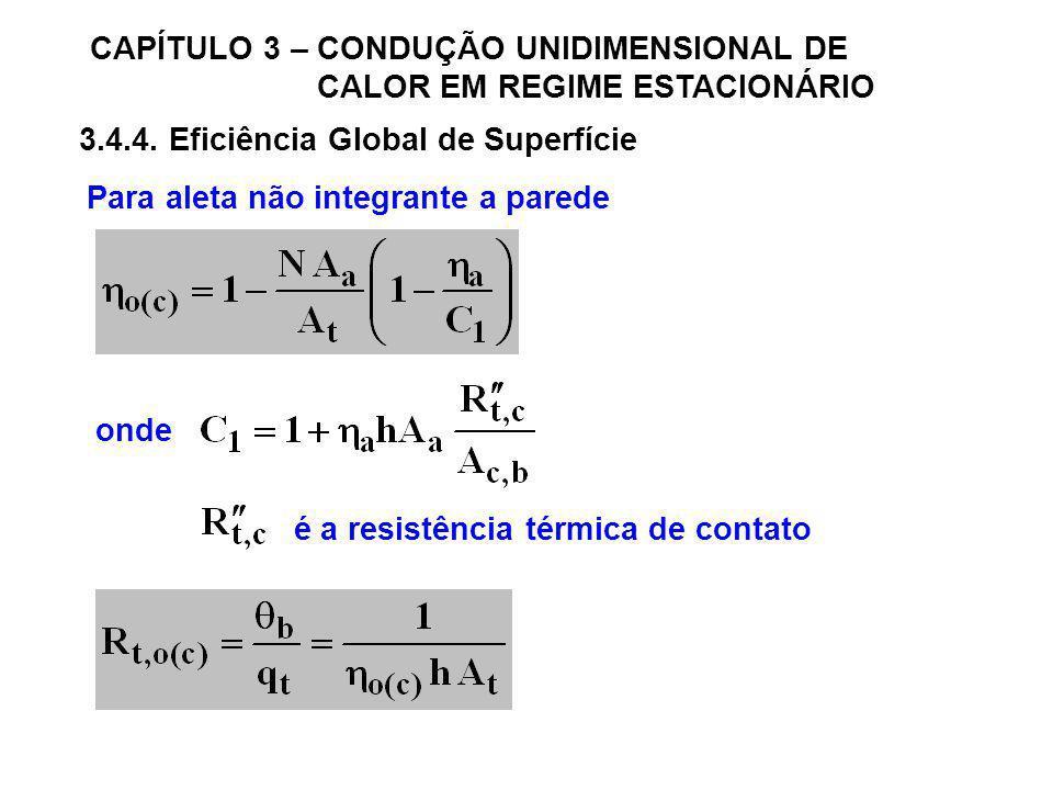 CAPÍTULO 3 – CONDUÇÃO UNIDIMENSIONAL DE CALOR EM REGIME ESTACIONÁRIO 3.4.4. Eficiência Global de Superfície Para aleta não integrante a parede onde é