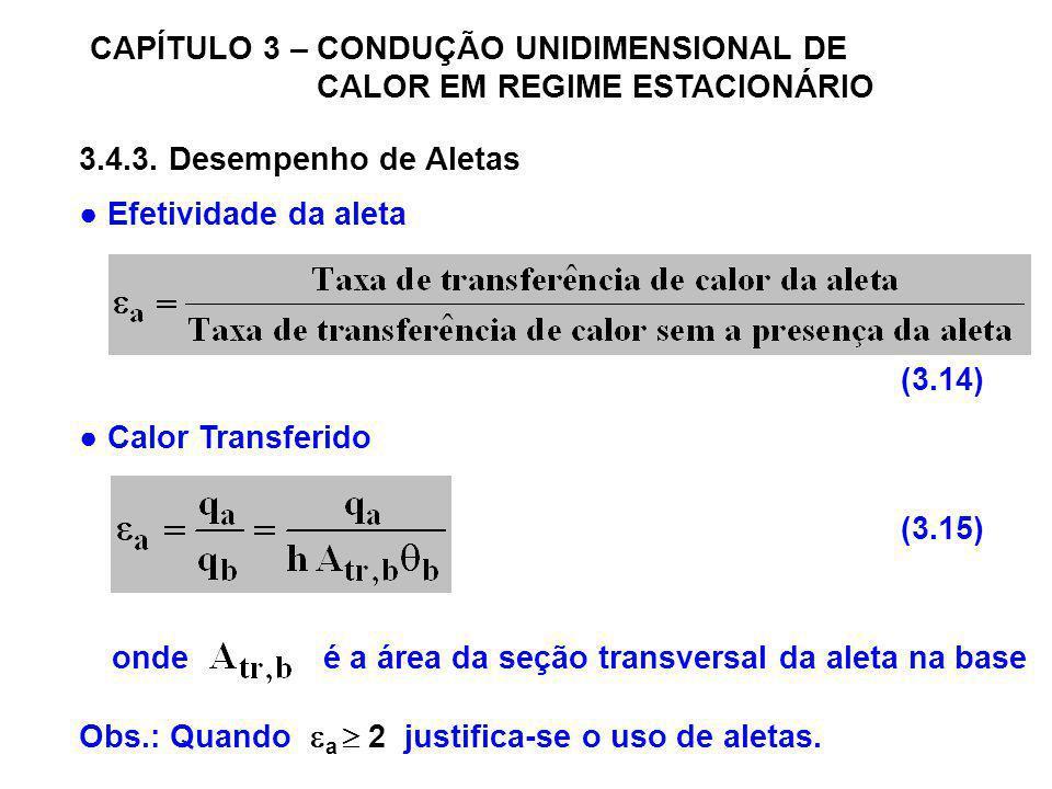 CAPÍTULO 3 – CONDUÇÃO UNIDIMENSIONAL DE CALOR EM REGIME ESTACIONÁRIO 3.4.3. Desempenho de Aletas Efetividade da aleta Calor Transferido onde é a área