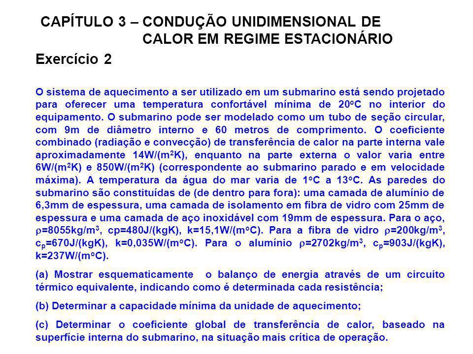 CAPÍTULO 3 – CONDUÇÃO UNIDIMENSIONAL DE CALOR EM REGIME ESTACIONÁRIO Exercício 2 O sistema de aquecimento a ser utilizado em um submarino está sendo p
