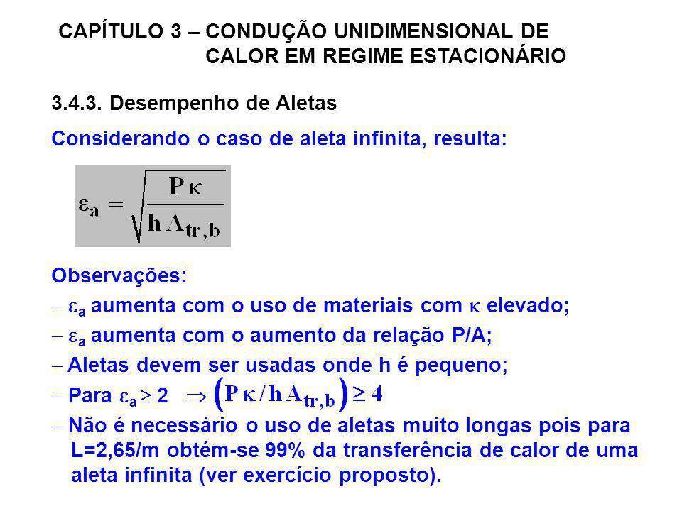 CAPÍTULO 3 – CONDUÇÃO UNIDIMENSIONAL DE CALOR EM REGIME ESTACIONÁRIO 3.4.3. Desempenho de Aletas Considerando o caso de aleta infinita, resulta: Obser