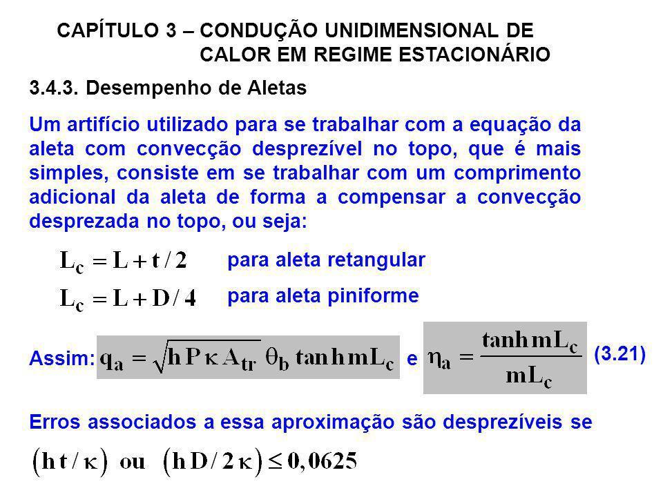 CAPÍTULO 3 – CONDUÇÃO UNIDIMENSIONAL DE CALOR EM REGIME ESTACIONÁRIO 3.4.3. Desempenho de Aletas Um artifício utilizado para se trabalhar com a equaçã