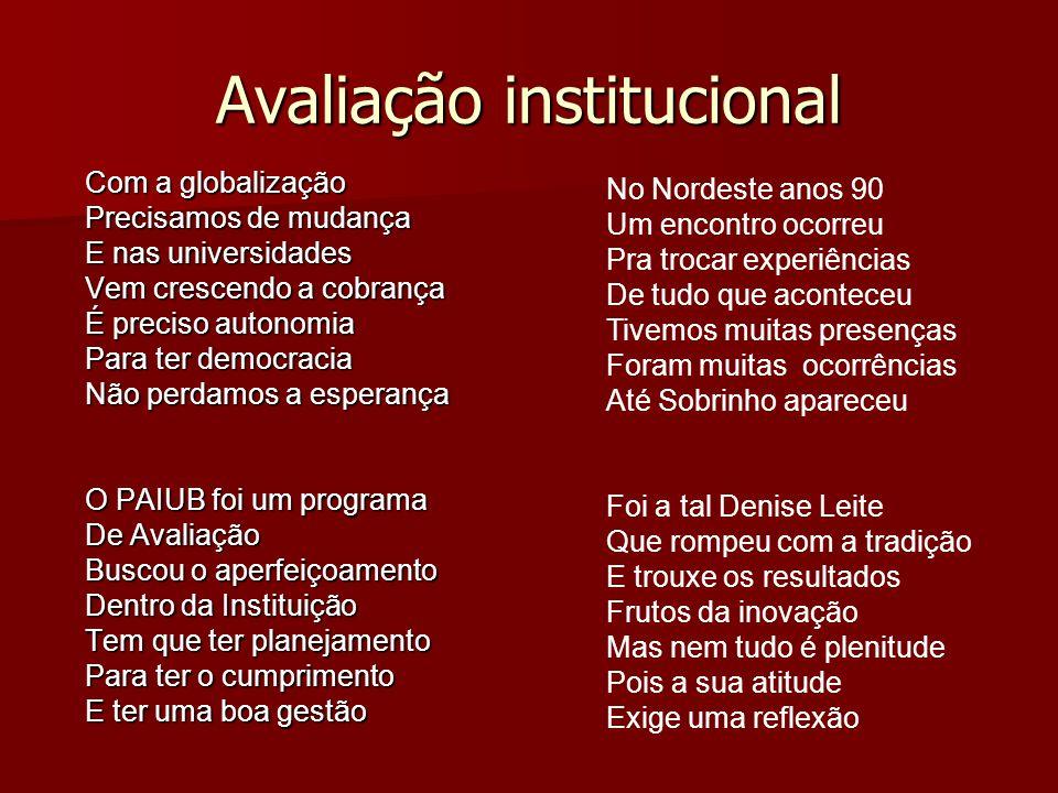 Avaliação institucional Com a globalização Precisamos de mudança E nas universidades Vem crescendo a cobrança É preciso autonomia Para ter democracia