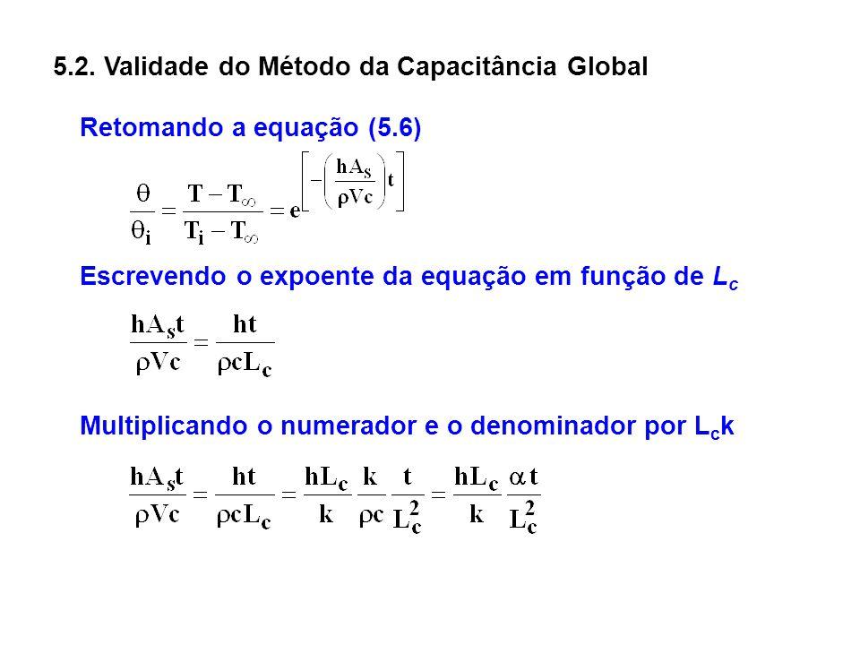 5.2. Validade do Método da Capacitância Global Escrevendo o expoente da equação em função de L c Retomando a equação (5.6) Multiplicando o numerador e