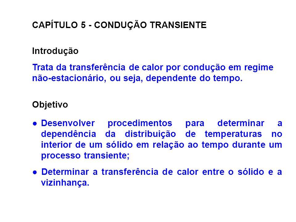 CAPÍTULO 5 - CONDUÇÃO TRANSIENTE Introdução Trata da transferência de calor por condução em regime não-estacionário, ou seja, dependente do tempo. Obj