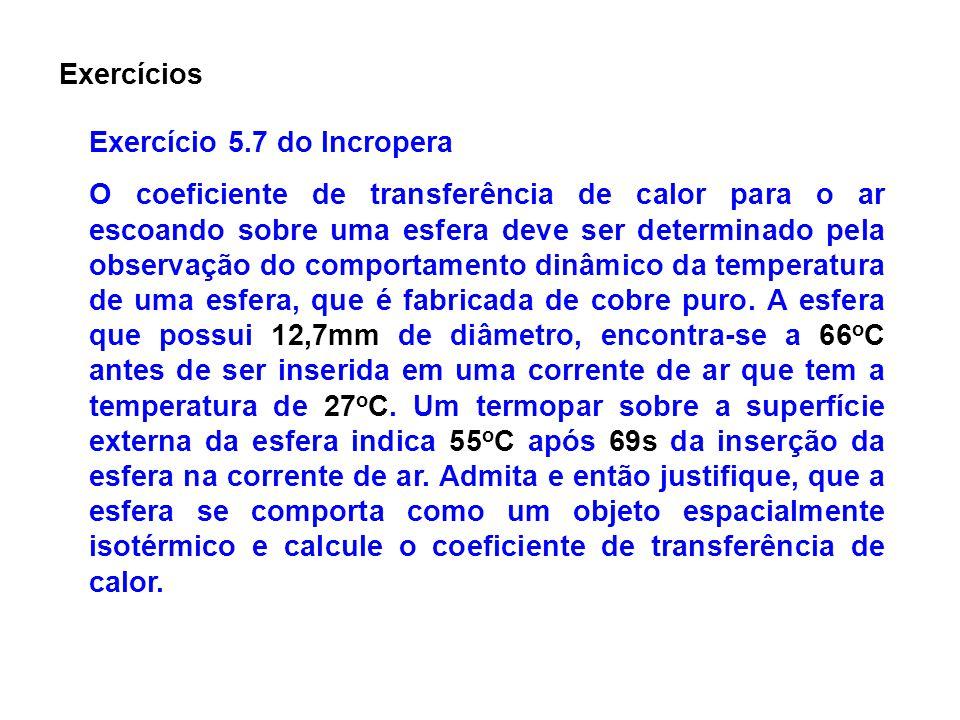Exercícios Exercício 5.7 do Incropera O coeficiente de transferência de calor para o ar escoando sobre uma esfera deve ser determinado pela observação