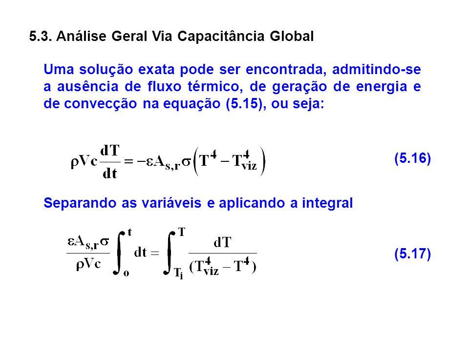 5.3. Análise Geral Via Capacitância Global Uma solução exata pode ser encontrada, admitindo-se a ausência de fluxo térmico, de geração de energia e de