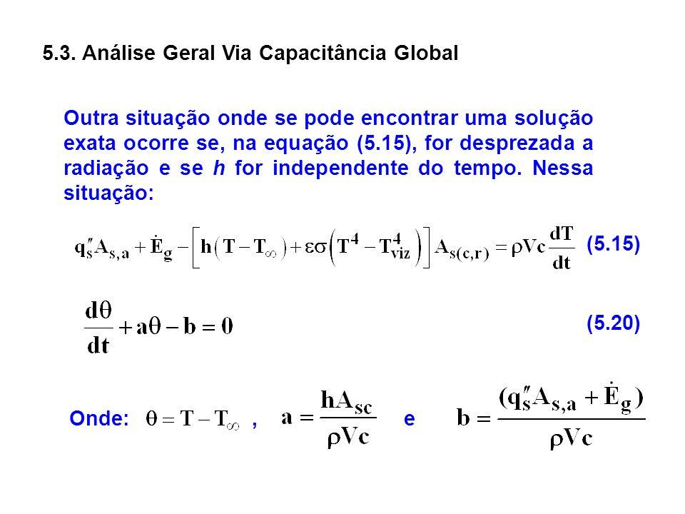 5.3. Análise Geral Via Capacitância Global Outra situação onde se pode encontrar uma solução exata ocorre se, na equação (5.15), for desprezada a radi