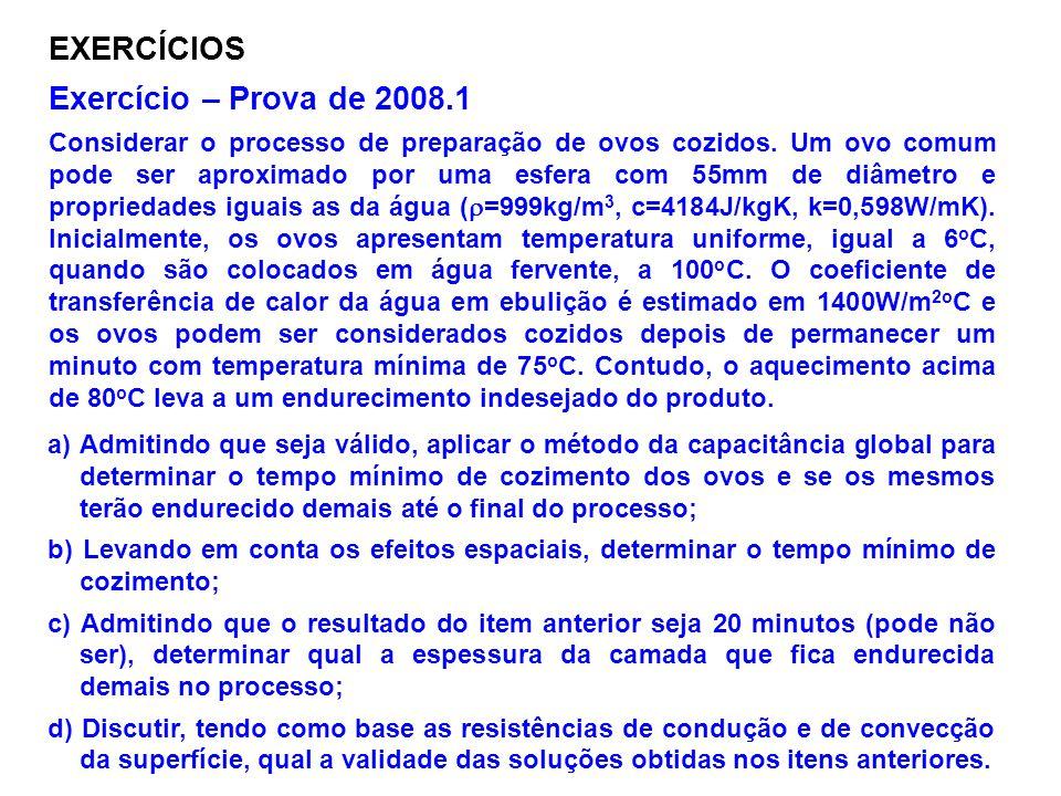 EXERCÍCIOS Exercício – Prova de 2008.1 Considerar o processo de preparação de ovos cozidos. Um ovo comum pode ser aproximado por uma esfera com 55mm d
