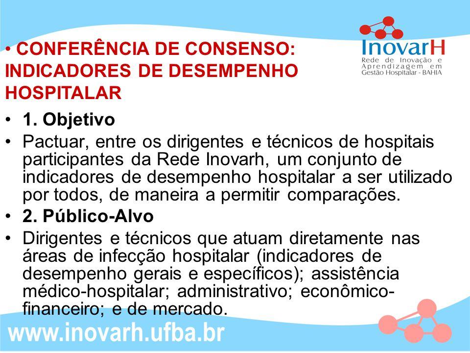 CONFERÊNCIA DE CONSENSO: INDICADORES DE DESEMPENHO HOSPITALAR 1. Objetivo Pactuar, entre os dirigentes e técnicos de hospitais participantes da Rede I