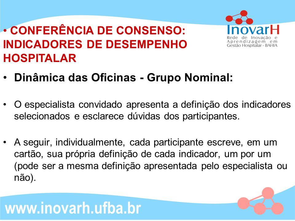 CONFERÊNCIA DE CONSENSO: INDICADORES DE DESEMPENHO HOSPITALAR Dinâmica das Oficinas - Grupo Nominal: O especialista convidado apresenta a definição do