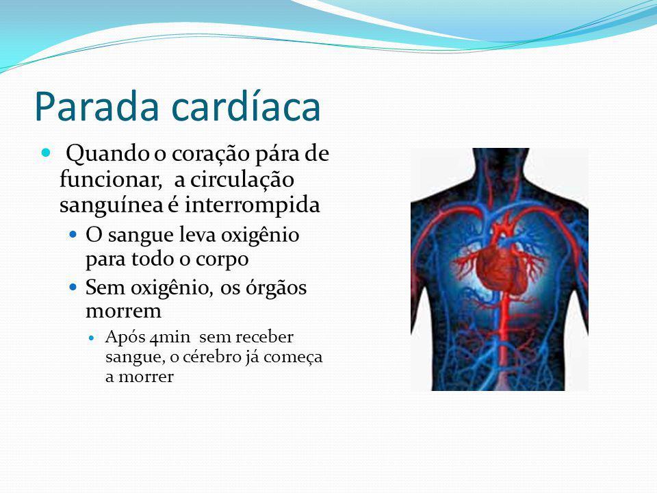 Parada cardíaca Quando o coração pára de funcionar, a circulação sanguínea é interrompida O sangue leva oxigênio para todo o corpo Sem oxigênio, os ór