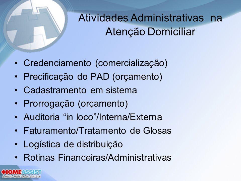 Atividades Administrativas na Atenção Domiciliar Credenciamento (comercialização) Precificação do PAD (orçamento) Cadastramento em sistema Prorrogação (orçamento) Auditoria in loco/Interna/Externa Faturamento/Tratamento de Glosas Logística de distribuição Rotinas Financeiras/Administrativas