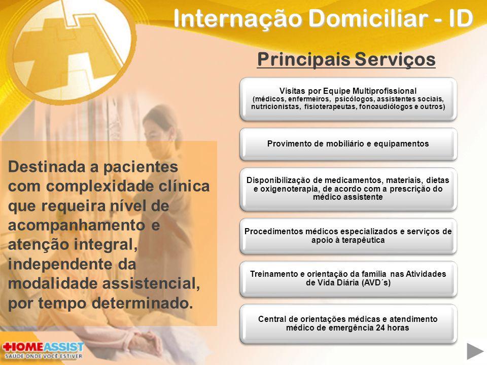 Internação Domiciliar - ID Destinada a pacientes com complexidade clínica que requeira nível de acompanhamento e atenção integral, independente da modalidade assistencial, por tempo determinado.