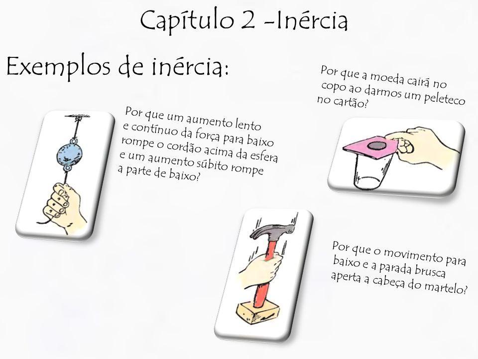Capítulo 2 -Inércia Exemplos de inércia: Por que a moeda cairá no copo ao darmos um peleteco no cartão? Por que o movimento para baixo e a parada brus