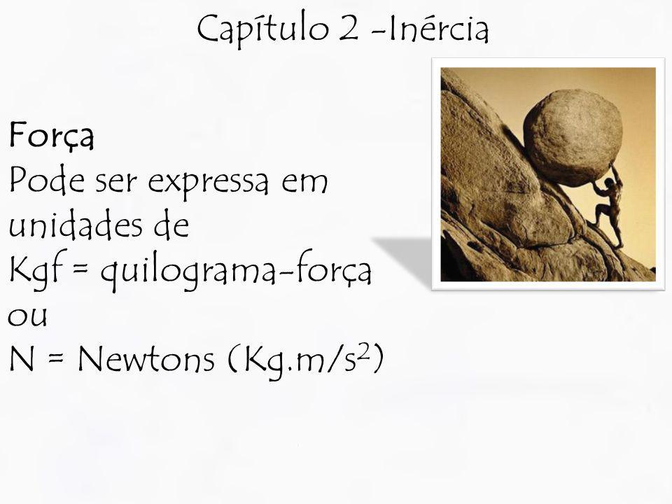 Capítulo 2 -Inércia Força Pode ser expressa em unidades de Kgf = quilograma-força ou N = Newtons (Kg.m/s 2 )