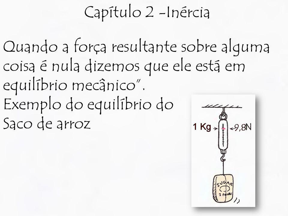 Capítulo 2 -Inércia Quando a força resultante sobre alguma coisa é nula dizemos que ele está em equilíbrio mecânico. Exemplo do equilíbrio do Saco de