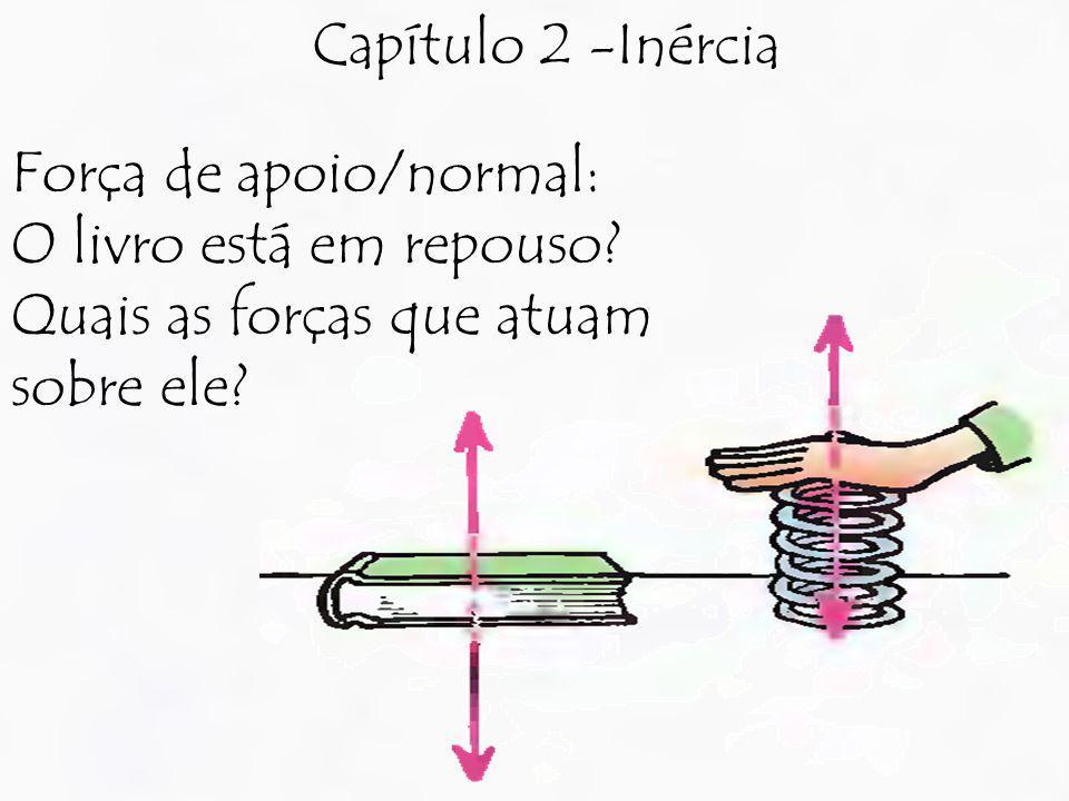 Capítulo 2 -Inércia Força de apoio/normal: O livro está em repouso? Quais as forças que atuam sobre ele?