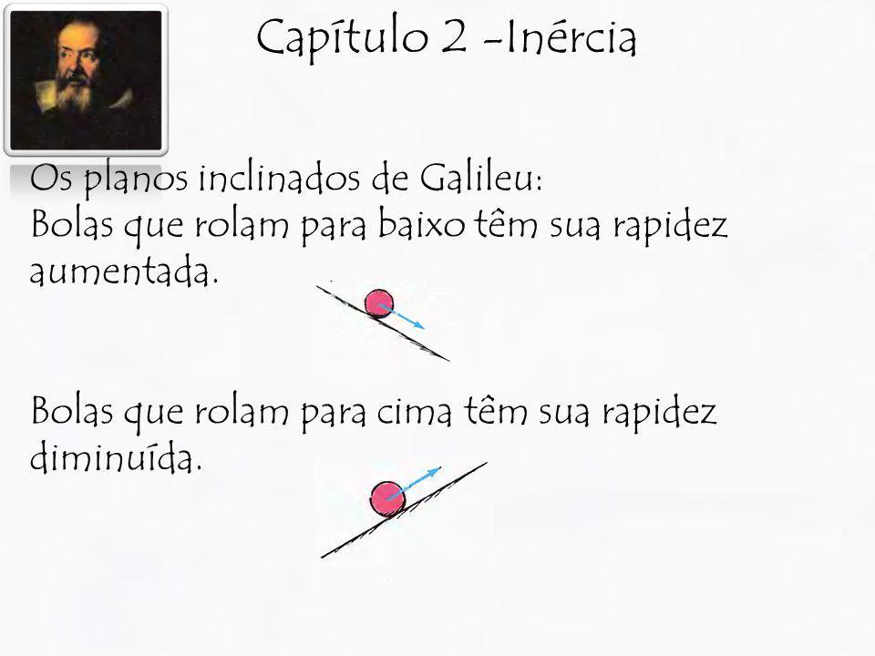 Capítulo 2 -Inércia Os planos inclinados de Galileu: Bolas que rolam para baixo têm sua rapidez aumentada. Bolas que rolam para cima têm sua rapidez d