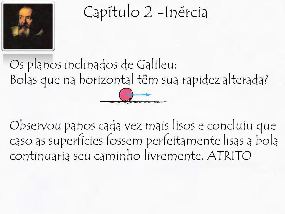 Capítulo 2 -Inércia Os planos inclinados de Galileu: Bolas que na horizontal têm sua rapidez alterada? Observou panos cada vez mais lisos e concluiu q