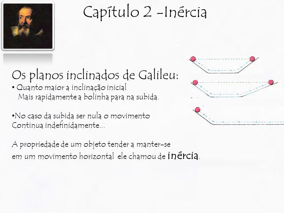 Capítulo 2 -Inércia Os planos inclinados de Galileu: Quanto maior a inclinação inicial Mais rapidamente a bolinha para na subida. No caso da subida se