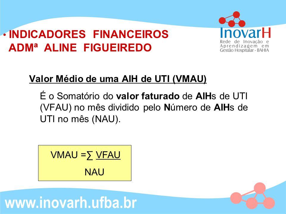 Valor Médio de uma AIH de UTI (VMAU) É o Somatório do valor faturado de AIHs de UTI (VFAU) no mês dividido pelo Número de AIHs de UTI no mês (NAU). IN