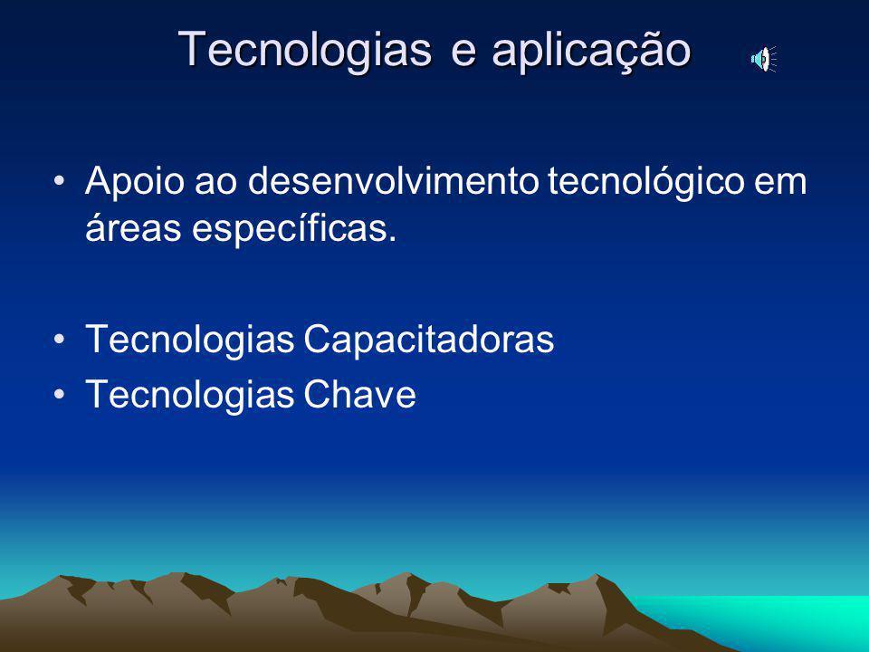 Tecnologias e aplicação Apoio ao desenvolvimento tecnológico em áreas específicas.