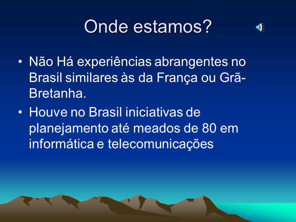 Onde estamos.Não Há experiências abrangentes no Brasil similares às da França ou Grã- Bretanha.