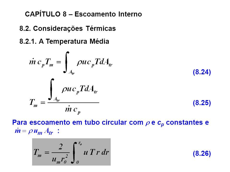 8.2.Considerações Térmicas CAPÍTULO 8 – Escoamento Interno 8.2.1.
