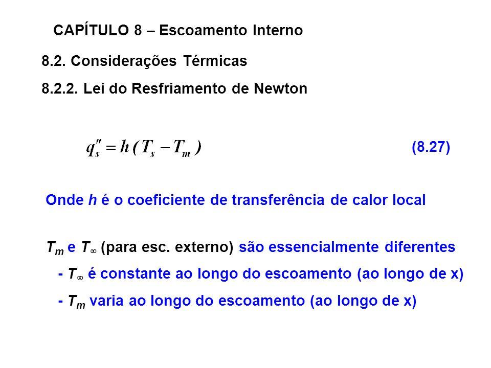 8.2.Considerações Térmicas CAPÍTULO 8 – Escoamento Interno 8.2.2.