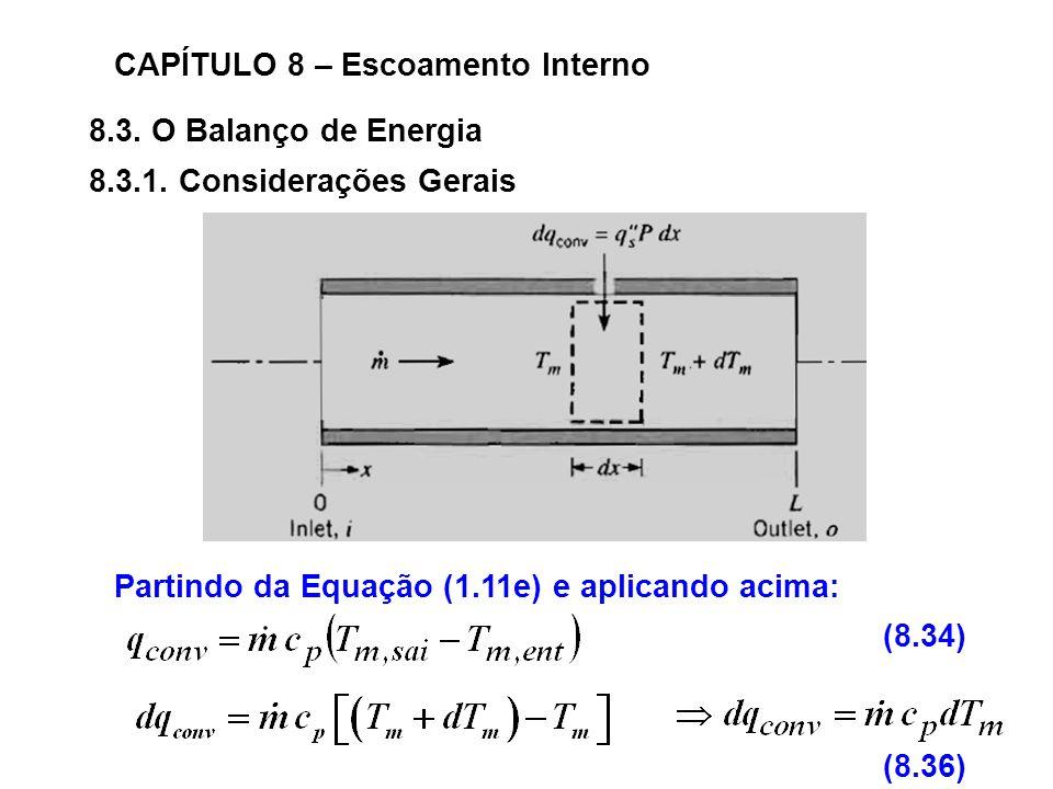 8.3.O Balanço de Energia CAPÍTULO 8 – Escoamento Interno 8.3.1.