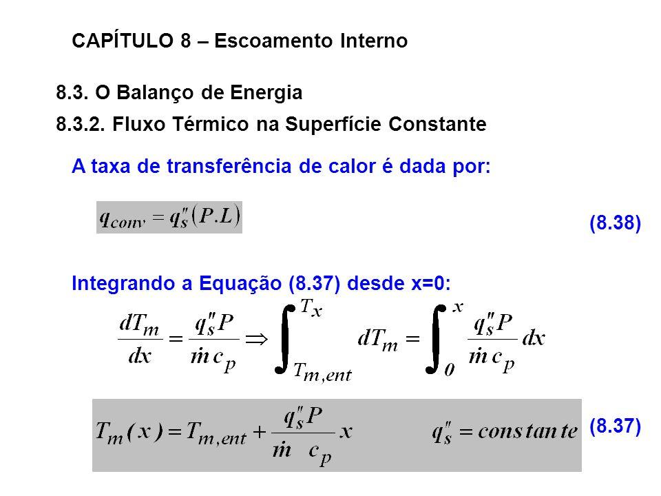 8.3.O Balanço de Energia CAPÍTULO 8 – Escoamento Interno 8.3.2.